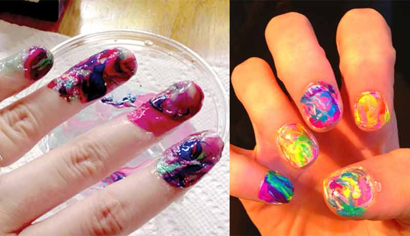 Water Marble Nail art, How to do Marble Nails, without Water, Stone ...