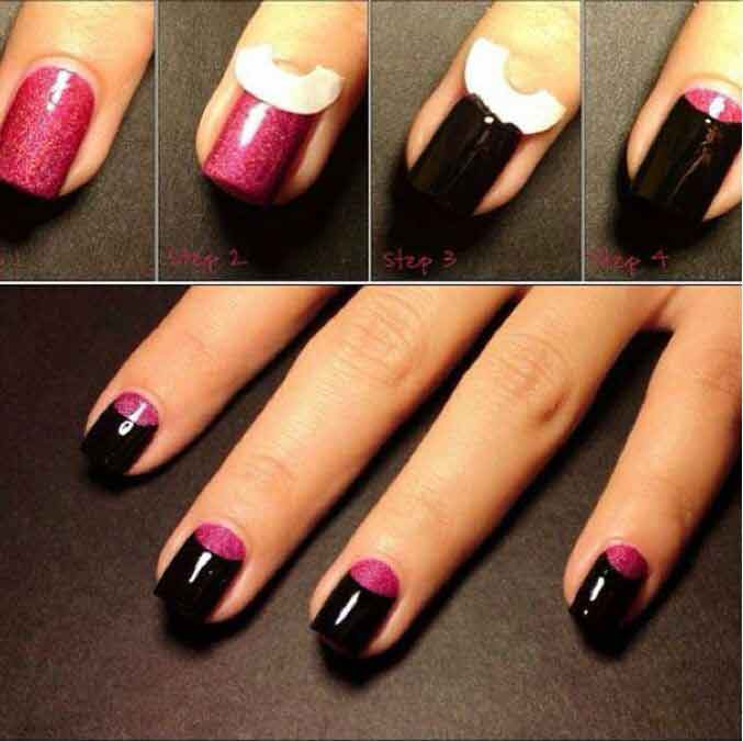 Reverse French Manicure, Designs, How-to Tutorial, Half