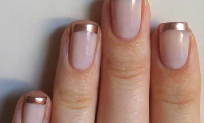 French Manicure with Glitter gold silverline