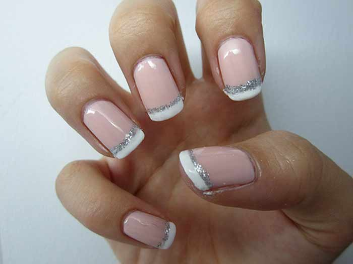 French Manicure With Silver Line Nailshe