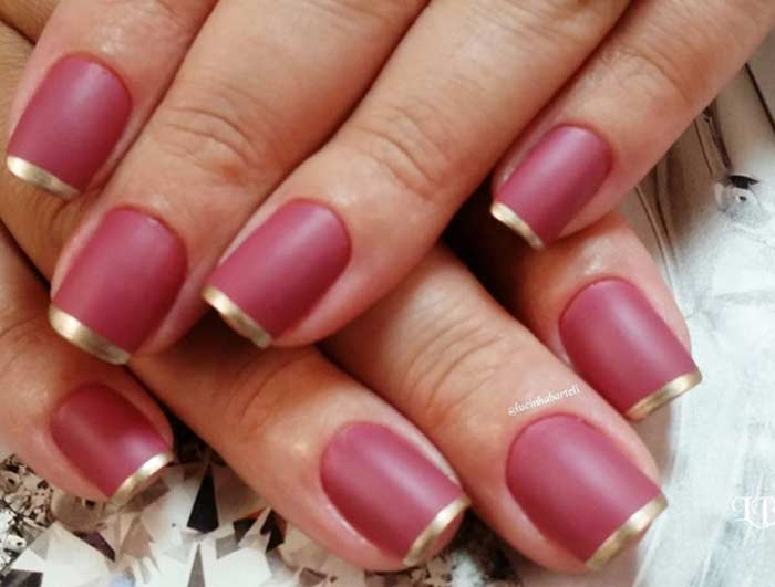 French metallic nail tip pink base | Nailshe