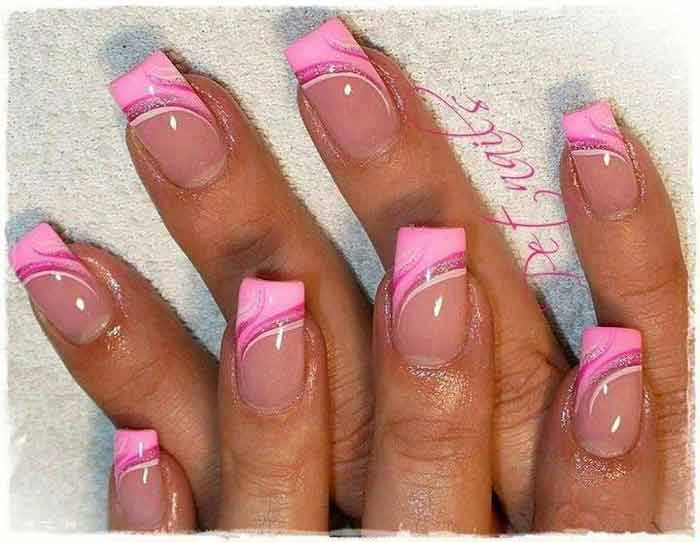 Cute Pink French Tip Nails ideas