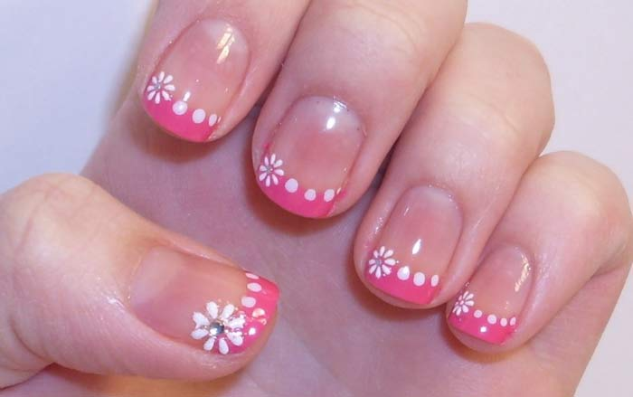 Pink French Tips with White Floral