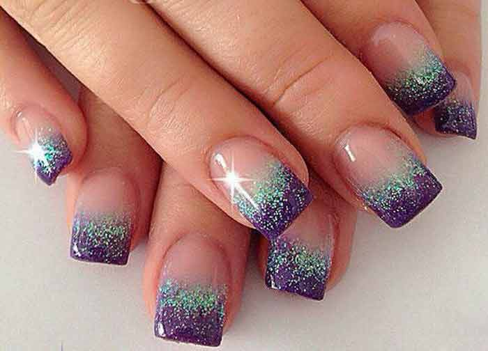 French manicure with glitter gold silver line designs nailshe best french tip nail designs with glitter prinsesfo Gallery