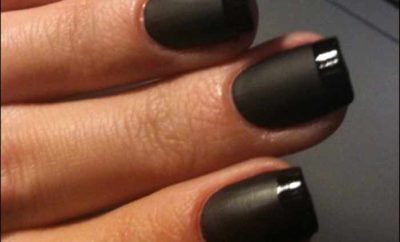 black french manicure with white pink, red, tips and designs