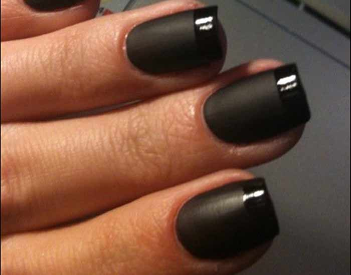 Black French Manicure Tip Nails And White Pink