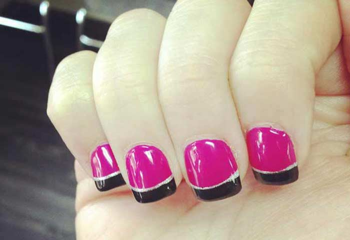 black tips pink base french manicure | Nailshe