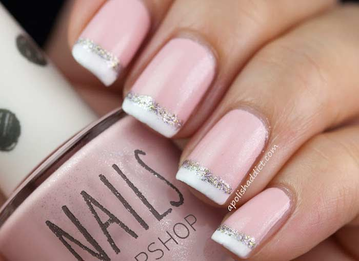 french manicure with pink base with sparkle white tip
