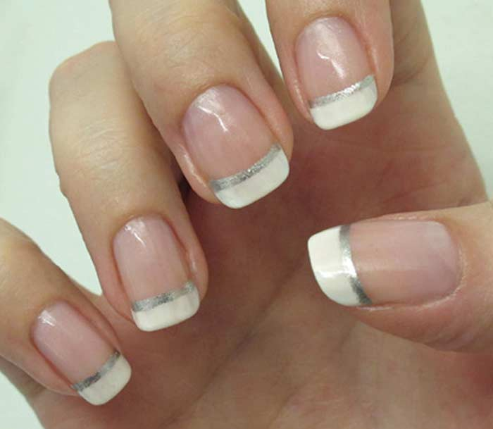 French Manicure With Glitter Gold Silver Line Designs Nailshe