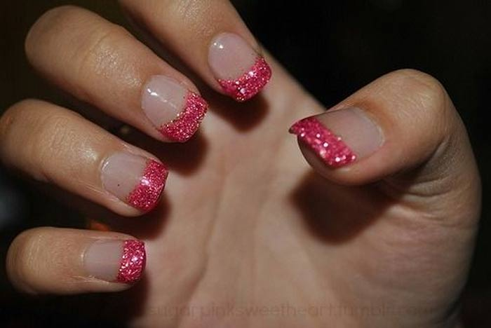 glitter french pink nail tips nailshe