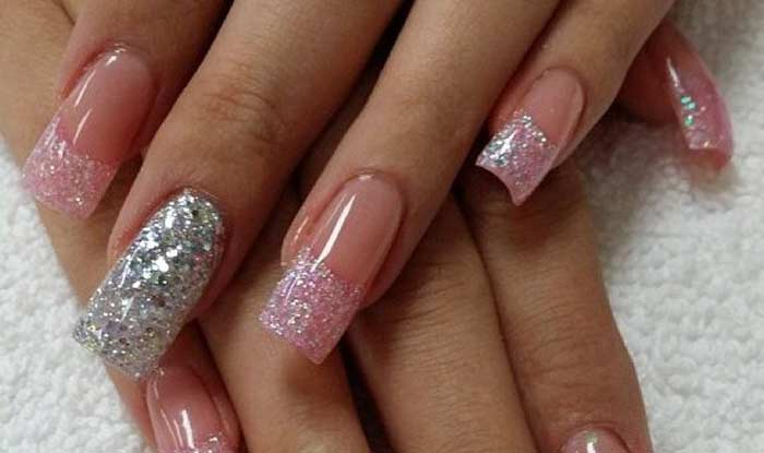 Glitter French Tip Acrylic Nails