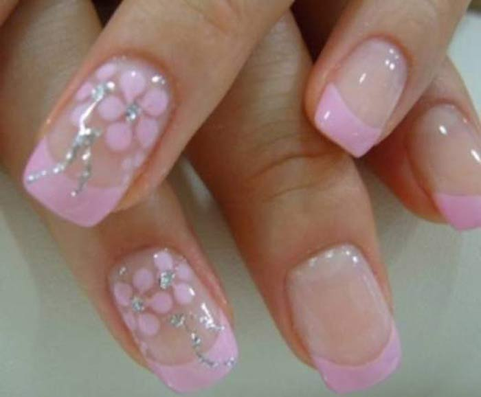 Light Pink Flower French Nails Nailshe