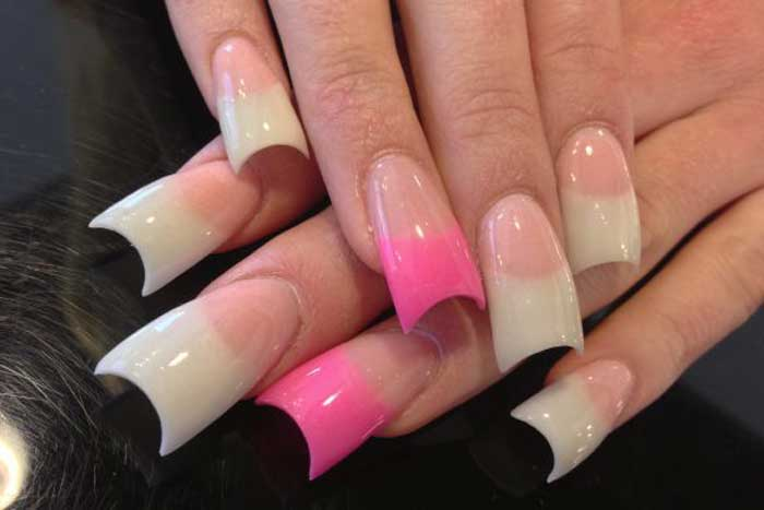 Pink french manicure pink and white tips nails light pink base long pink and white french manicure urmus Image collections