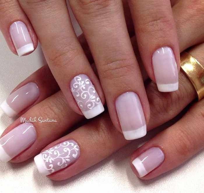 Pink And White French Colors For Spring Nail Art