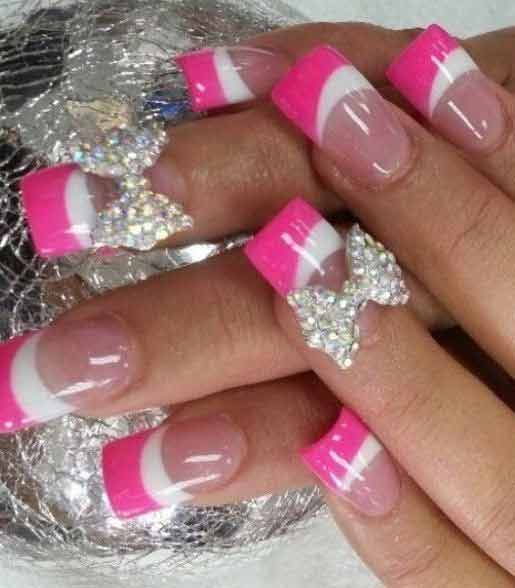 pink and white french tip nails pic