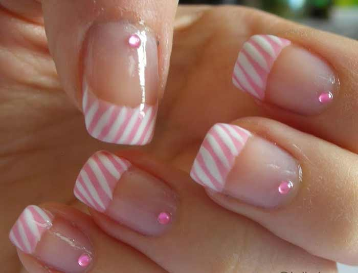 pink with white stripe tips