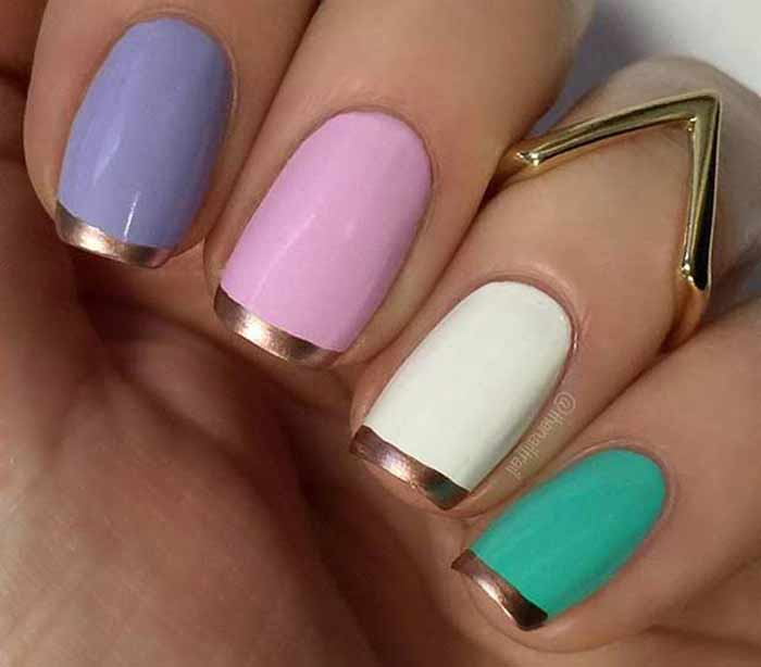 French Manicure With Glitter, Gold, Silver Line Designs