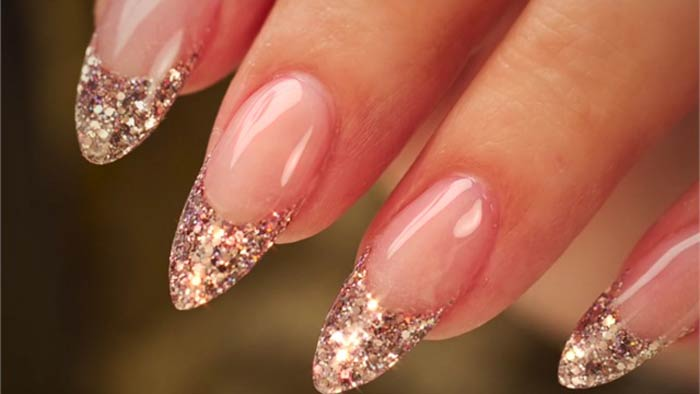Sparkly Glitter French Tip Acrylic Nails Nailshe